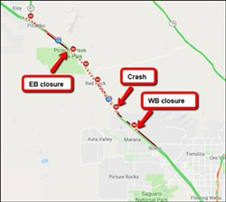 An illustration of the backup from a fatal car crash on Interstate 10, with eastbound lanes closed for a time at Picacho Road, and Marana Road westbound. - COURTESY OF ADOT