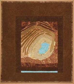 """Seen from Above: Open Pit Mine, Sahuarita, AZ,"""" fabric, sequins and thread by Annie Gordon. - ANNIE GORDON"""