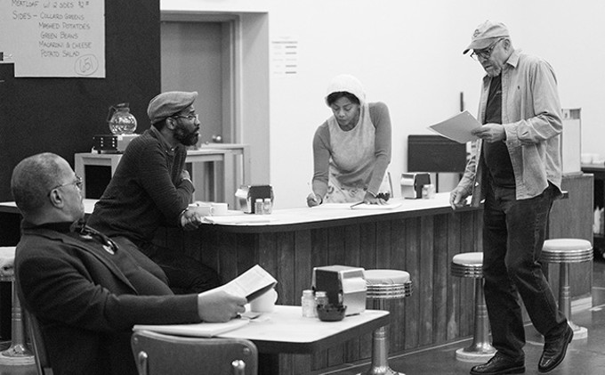 Alan Bomar Jones, Cedric Mays, Erika LaVonn, and director Lou Bellamy in rehearsals for Arizona Theatre Company's Two Trains Running. - COURTESY