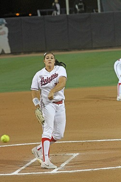 Taylor McQuillin throws a pitch during an Arizona softball game in 2018. - CHRISTOPHER BOAN, TUCSON WEEKLY