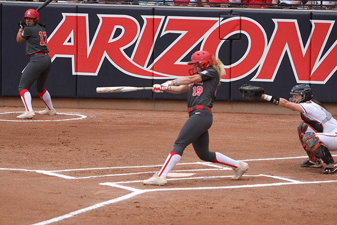 Arizona junior shortstop Jessie Harper hit three home runs in the Wildcats' 12-3 win over Auburn in the NCAA Softball Tournament Tucson Regional championship game on Sunday, May 19. - CHRISTOPHER BOAN
