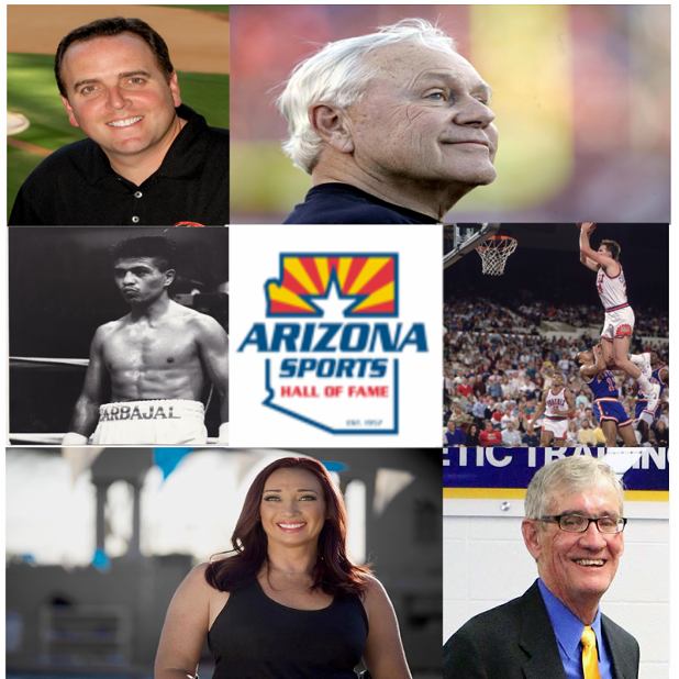 Clockwise from top left: Derrick Hall, Dick Tomey, Tom Chambers, Michael Nesbitt, Amy Van Dyken-Rouen, Michael Carbajal. - ARIZONA SPORTS HALL OF FAME