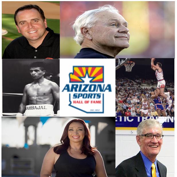 Clockwise from top left: Derrick Hall, Dick Tomey, Tom Chambers, Michael Nesbitt, Amy Van Dyken-Rouen, Michael Carbajal. - ARIZONA SPORTS HALL OF FAME