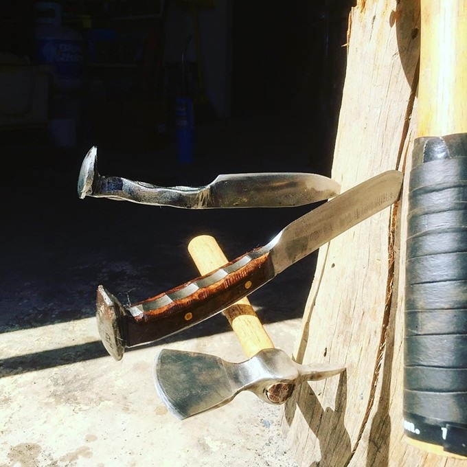 """Curing linseed oil in the sun."" Knives crafted from Railroad Spikes. - COURTESY OF SUNRISE FORGE"