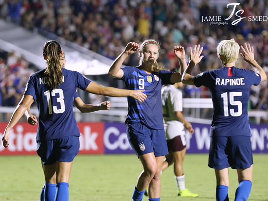ALEX MORGAN, LINDSEY HORAN, MEGAN RAPINOE. COURTESY OF FLICKR