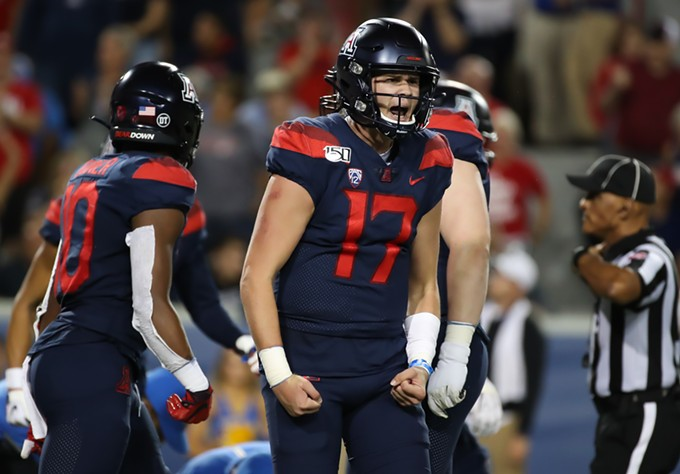 Freshman quarterback Grant Gunnell threw for 351 yards and a touchdown in Arizona's 20-17 victory over UCLA on Saturday, Sept. 28 - MIKE CHRISTY | ARIZONA ATHLETICS