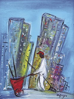 A painting from the 'Degrazia Downtown' exhibit featuring skyscrapers, a rare sight in DeGrazia's artwork.