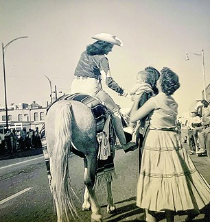 LaVerne on horseback greets fans, circa 1955. - COURTESY PHOTO