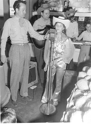 LaVerne on KCNA radio performing at Goodman's Market grand opening, circa 1952 - COURTESY PHOTO