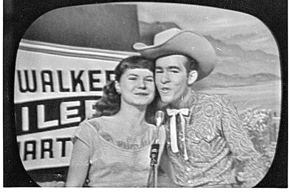Fan photo of LaVerne and Kenny Smith singing on KOLD-TV, circa 1953.
