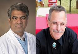 Professor of medicine Sairam Parthasarathy and professor of materials science and engineering Douglas Loy are part of University of Arizona's team 3D-printing medical masks to help combat coronavirus - COURTESY UA