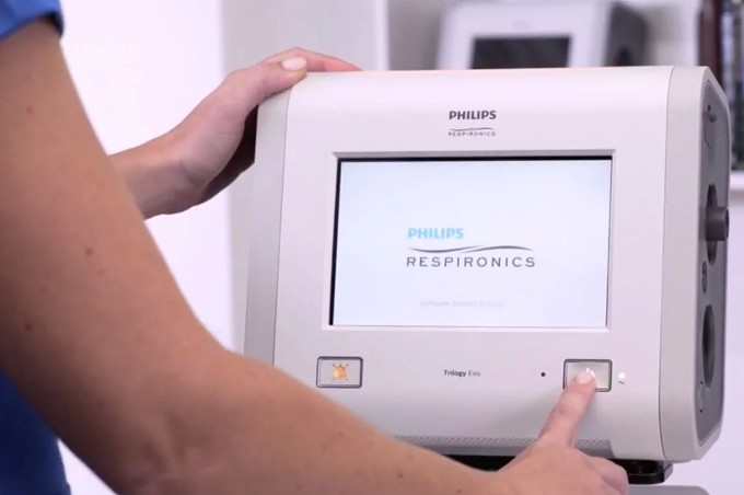A Trilogy Evo portable ventilator from an instructional video on YouTube. (Obtained by ProPublica) - PROPUBLICA