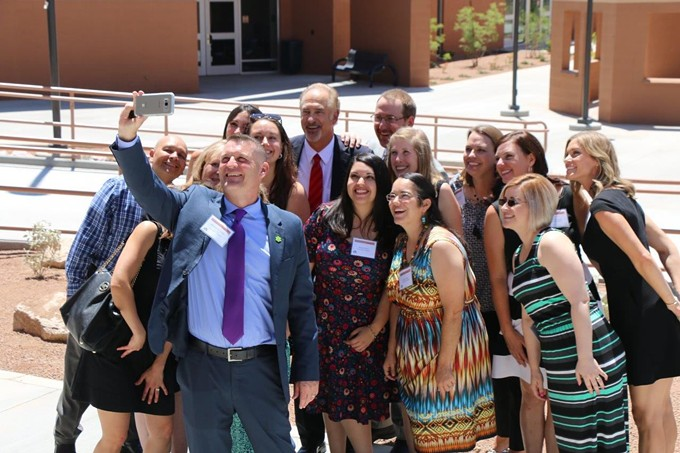 Innovation Academy teachers take a selfie with principal Michael McConnell when one the first day of classes in 2017. - LOGAN BURTCH-BUUS