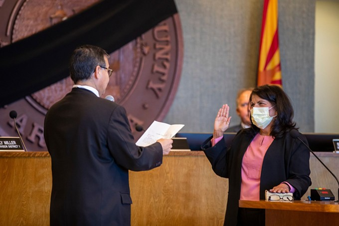 Incoming District 5 Supervisor Betty Villegas is sworn in by Chairman Ramon Valadez on Thursday, April 9. The Pima County Board of Supervisors appointed Villegas after a 3-1 vote on Tuesday, April 7.