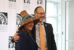 National Congress of American Indians President Fawn Sharp and CEO Kevin Allis pose at the group's annual State of Indian Nations address in Washington in February. Sharp moderated a town hall Tuesday on the federal response to COVID-19 in Indian Country. - PHOTO BY MCKENZIE SADEGHI/CRONKITE NEWS