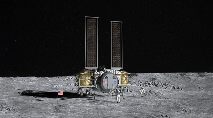 n artist's concept of the Dynetics Human Landing System, for which Paragon will design the life support system, on the surface of the moon. - COURTESY DYNETICS
