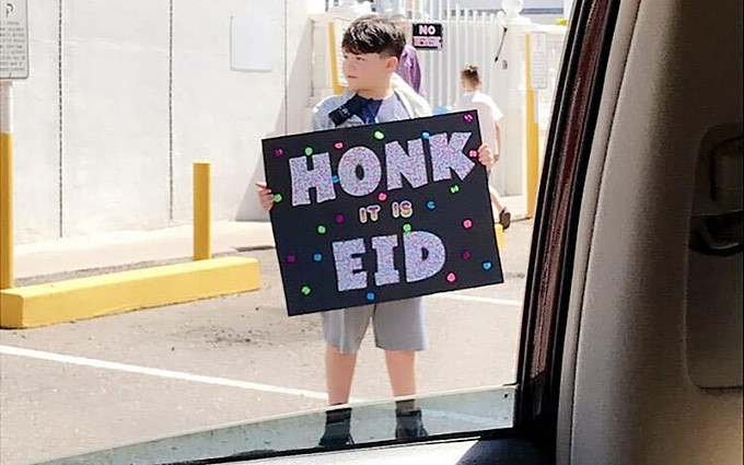 Muslims in Arizona struggled this weekend to celebrate Eid al-Fitr, the day of feasting that marks the end of the month of fasting during Ramadan, while still socially distancing in the face of COVID-19. One alternative was a parade of cars, so people could be together without being too close. (Photo courtesy Malak Tohaibeche)
