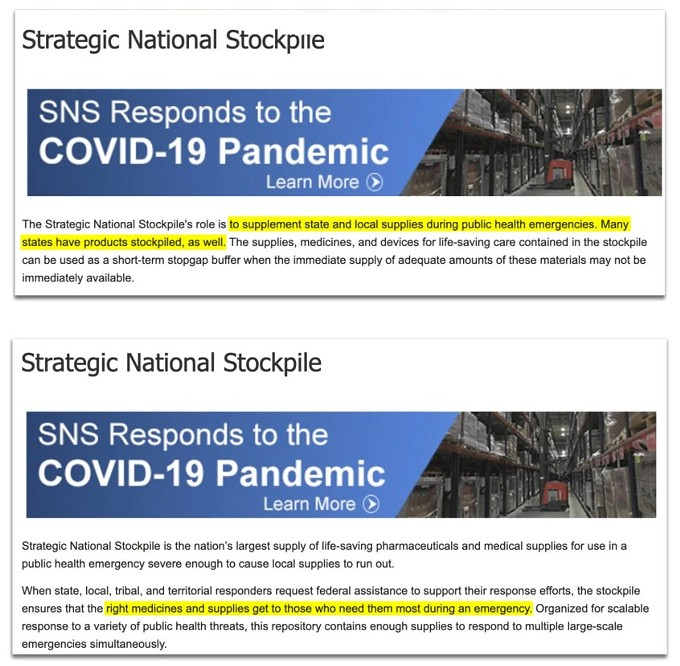A screenshot of the Strategic National Stockpile's website after Jared Kushner's comment, above, and before his comment.