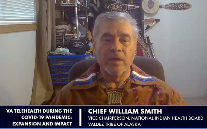 In this screenshot, William Smith, of the Valdez Native Tribe in Alaska, testifies before the U.S. House subcommittees on health and technology modernization about the need for more telehealth to help fight COVID-19. Smith has been working to draw attention to the lack of infrastructure in Indian Country during the pandemic. (Photo courtesy of the National Indian Health Board)