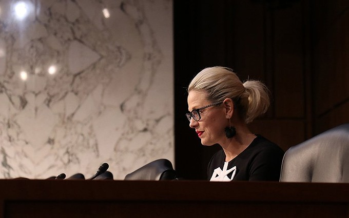 Sen. Kyrsten Sinema, D-Arizona, in a file photo from May 2019, said in a Senate Homeland Security Committee hearing that DHS has put the cart before the horse by rushing into border wall construction without sufficient review first. - FILE PHOTO BY KEERTHI VEDANTAM/CRONKITE NEWS