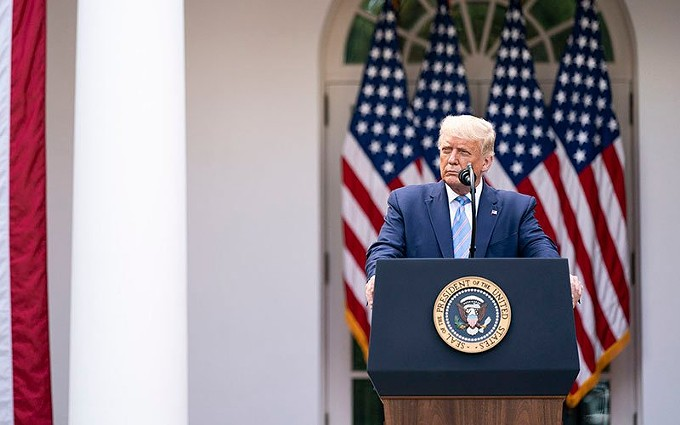 President Donald Trump, shown here at a Monday event in the Rose Garden to discuss the state of coronavirus testing in the U.S. Trump announced late Thursday that he and the first lady tested positive for COVID-19 and would be quarantining. - PHOTO BY SHEALAH CRAIGHEAD/THE WHITE HOUSE