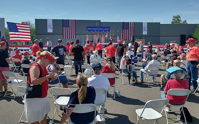 A crowd gathers at TYR Tactical in Peoria in advance of a campaign event by Vice President Mike Pence on Thursday – the same day Democratic challengers Joe Biden and Kamala Harris arrived in the Valley. - POOL PHOTO BY ROB CRILLY/WASHINGTON EXAMINER