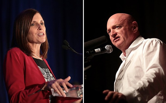 Sen. Martha McSally, R-Arizona, and Democratic challenger, Mark Kelly, had raised more than $133.7 million for the race as of Sept. 30, according to their latest campaign filings, making it the costliest race in state history. - PHOTOS BY GAGE SKIDMORE, CREATIVE COMMONS