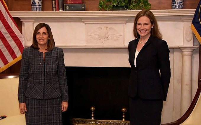"""Arizona Republican Sen. Martha McSally, left, was full of praise for Supreme Court nominee Amy Coney Barrett in a meeting Wednesday in the Capitol, calling Barrett a """"gift to America."""" A Senate committee is scheduled to vote on Barrett's nomination Thursday and the full Senate could confirm her next week, just six weeks after the death of Justice Ruth Bader Ginsburg. - PHOTO COURTESY CNN"""