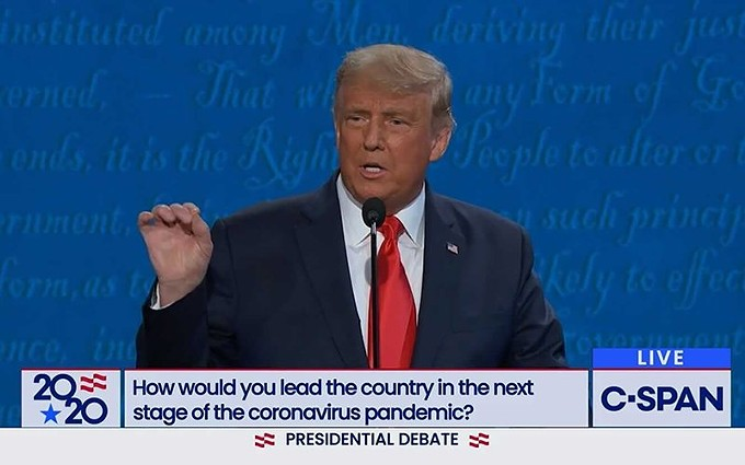 "Asked at the presidential debate about how to handle COVID-19, President Donald Trump cited Arizona as a state that had seen a spike in cases, and ""it's now gone."" But in each of the states he cited, including Arizona, new cases have started to surge again. - C-SPAN"
