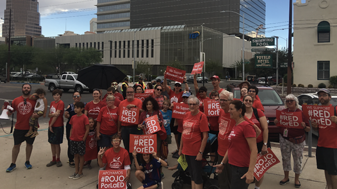 Red for Ed supporters join a September 2018 protest against the removal of the Invest in Education initiative from the November 2018 ballot. - JIM BYRNE