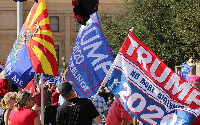President Donald Trump's campaign sued Arizona and Maricopa County this weekend over the handling of some ballots in last week's elections. It came as Trump supporter rallied Saturday at the Statehouse to protest the ballot counting, with complaints that elections officials have quickly refuted. - KYLA PEARCE/CRONKITE NEWS