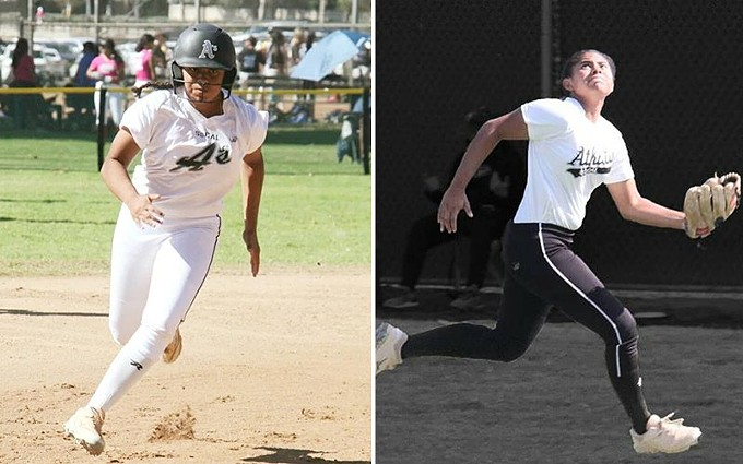 Left: High school softball player Mikayla Prudholme has been traveling across state lines to Arizona from California during the pandemic to keep playing and stay competitive. Right: High school athlete Mikayla Prudholme has her sights on the ball, and a college scholarship. The four-year varsity starter from California has been traveling across state lines during the pandemic to keep playing and stay competitive. - PHOTO COURTESY OF BRENDA LEON