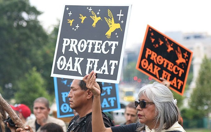 Members of the San Carlos Apache tribe gathered as the Capitol building to protest a proposal that would trade away land for mining, land that is sacred to them. - JAMIE COCHRAN, CRONKITE NEWS