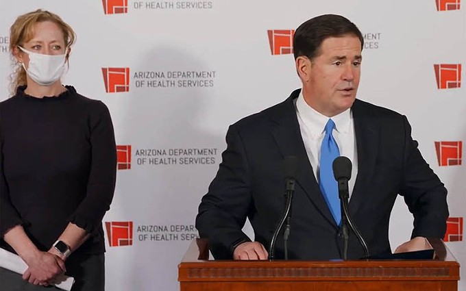 Gov. Doug Ducey announced new restrictions on gatherings and new funding for nurses, but brushed off calls for restrictive measures like a curfew called for by medical experts, who said the state is on the verge of a catastrophe. - GOVERNOR'S OFFICE