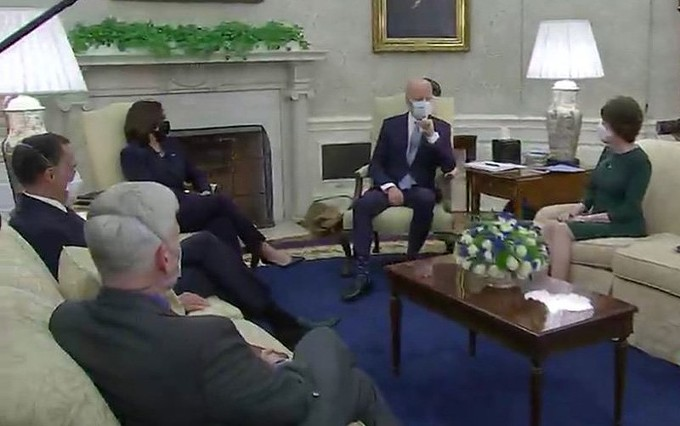 President Joe Biden and Vice President Kamala Harris met with Republican senators who presented a $618 billion alternative to his $1.9 trillion COVID-19 relief bill. But Democrats are backing Biden's larger bill, which includes money for local governments and a $15 federal minimum wage. - C-SPAN VIA CRONKITE NEWS