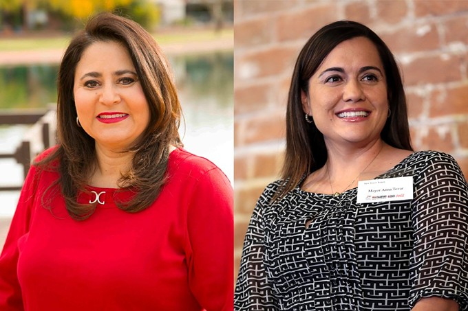Lea Márquez Peterson, left, was appointed to the Arizona Corporation Commission in 2019 by Gov. Doug Ducey. In 2020, she and Anna Tovar, right, also of the Arizona Corporation Commission and the first woman mayor of Tolleson (in 2016), became the first Latinas elected to statewide office in Arizona. Márquez Peterson was also selected as chairwoman for the commission. - PHOTOS COURTESY OF LEA MÁRQUEZ PETERSON AND GAGE SKIDMORE/CREATIVE COMMONS