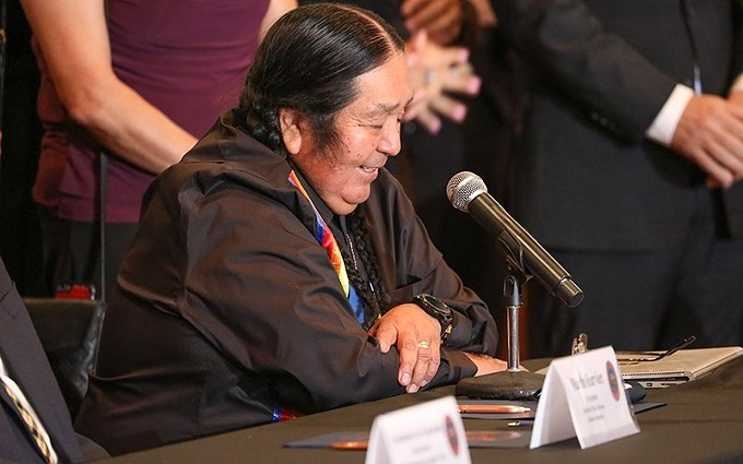 "Before signing the amended Tribal-State Gaming Compact, Hualapai Chairman Dr. Damon R. Clarke said, ""Looking ahead, tribal gaming will continue to evolve."" - ALINA NELSON/CRONKITE NEWS"