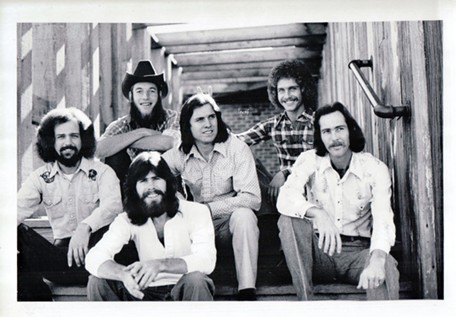 Bob Meighan Band circa 1976 in Los Angeles (from left): Milt Miller, Meighan (front), Rich Howard, David Dodt, Rodney Bryce, Dick Furlow. - COURTESY STEVE ZIND