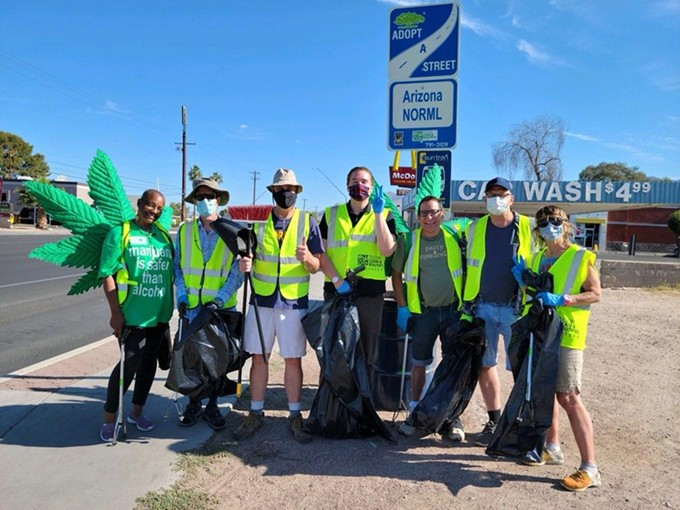 Southern Arizona NORML volunteers prepare to clean a stretch of Campbell Avenue from Fort Lowell Road to River Road. The cannabis advocacy organization has been cleaning the stretch for more than a year and has finally received the sign honoring their labor. Anyone interested in helping with the cleanup or getting involved in reefer activism can go to https://soaznorml.org or search for the group's Facebook page - SOUTHERN ARIZONA NORML