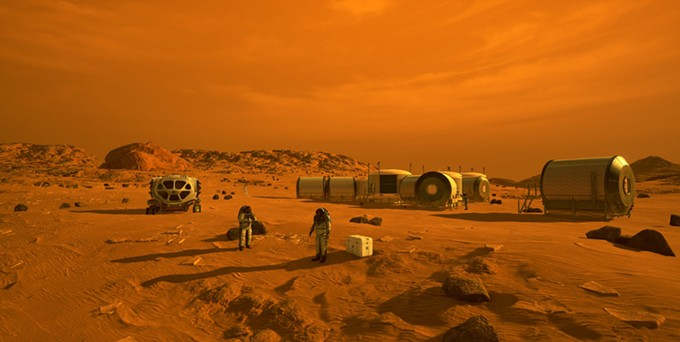 This artist's concept depicts astronauts and human habitats on Mars. But that's years off, after several missions to the moon,  NASA spokesperson Cheryl Warner says. - NASA