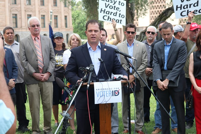 Rep. Jake Hoffman, R-Queen Creek, speaks in support of the Arizonans for Voter ID Act during a press conference outside the Arizona Senate on Aug. 17, 2021. - JEREMY DUDA, ARIZONA MIRROR