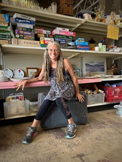Debbie Mitchell inside The Free Store.