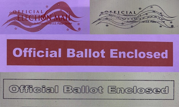Color markings on an original ballot envelope printed by Runbeck Election Services and the images of those markings after they are scanned by Runbeck's equipment. The scans are done in a binary format that only uses black and white pixels, and that doesn't fill in blocks of solid color to decrease file sizes and increase scanning speeds. - JEREMY DUDA, ARIZONA MIRROR