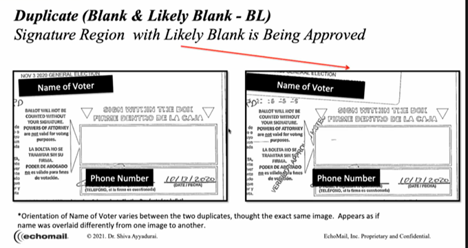 """Shiva Ayyadurai presented this ballot envelope as one without a signature. While the box for a signature was blank, the voter's signature can be seen extending beyond the redaction in the space for the voter's phone number. Such ballots are """"cured"""" by election workers if the signature matches what is on file, then they are stamped as approved and scanned a second time. - SCREENSHOT VIA ARIZONA SENATE"""