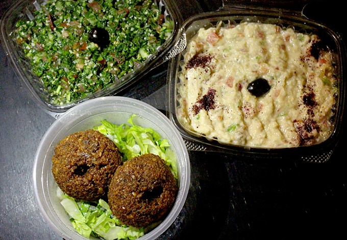 Start your meal off with tabbouleh, muttabal eggplant or falafel. - HEATHER HOCH