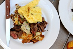 Seasoned hanger steak and eggs kicks off the morning with hearty flavor. - HEATHER HOCH