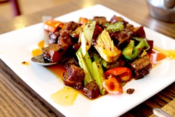Braised pork belly will have you singing this spot's praises. - HEATHER HOCH