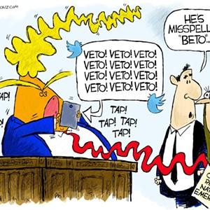 Claytoon of the Day: Trump Beto Veto