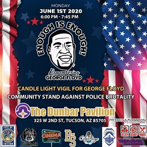 Candlelight Vigil for George Floyd 6 P.M.Tonight at The Dunbar Pavilion