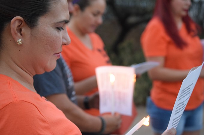 Karina Reyes and other members of Las Promotoras Rompiendo Cadenas continue the tradition of holding vigil, at El Tiradito Shrine, for migrants who died in the Arizona desert.
